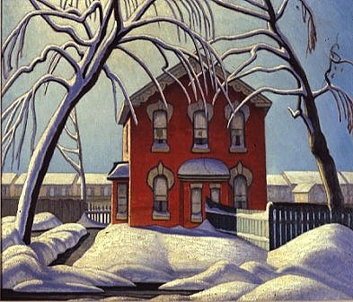 red house, winter