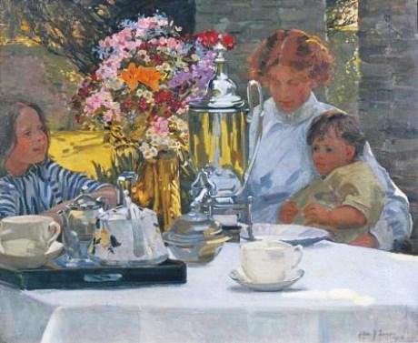 e14 Hilda Fearon (British artist, 1878-1917) Tea Party 1916